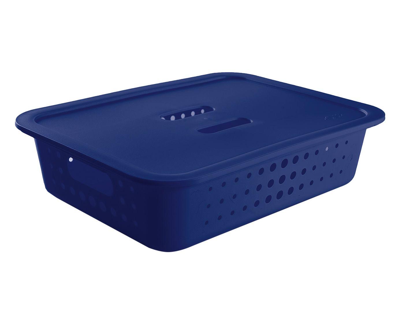 Cesto Organizador Baixo com Tampa Pratic Azul Royal - 41X31,5cm | Westwing.com.br