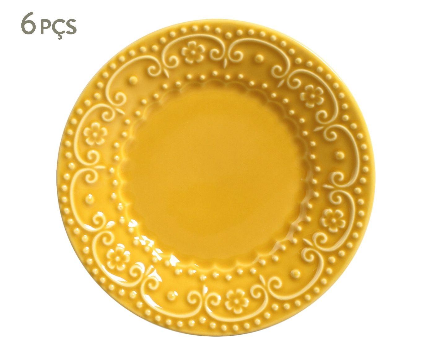Jogo de Pratos para Sobremesa Esparta Mostarda - 20,5cm   Westwing.com.br