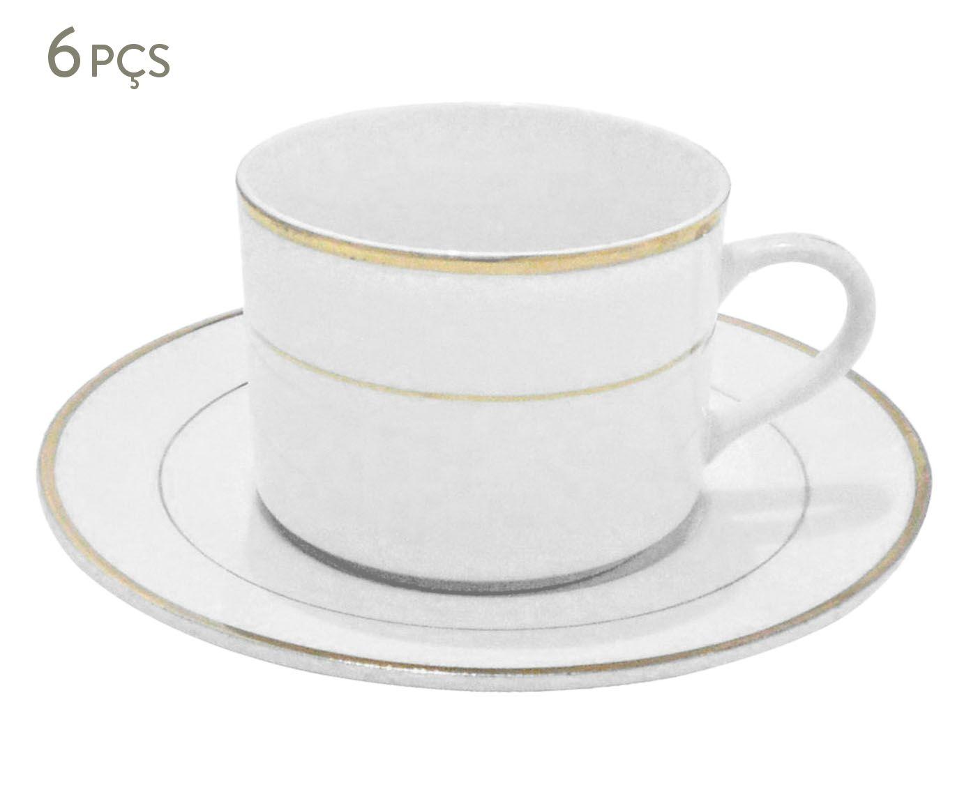 Jogo de Xícaras de Café Superwhite Gold - 75ml | Westwing.com.br
