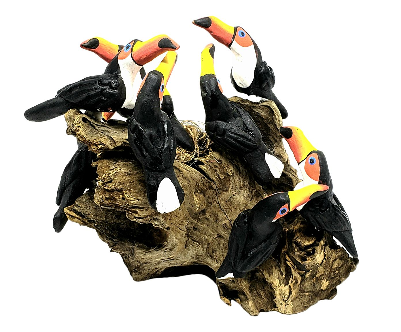Escultura Pássaros No Tronco Oito Tucanos - 15X14cm | Westwing.com.br