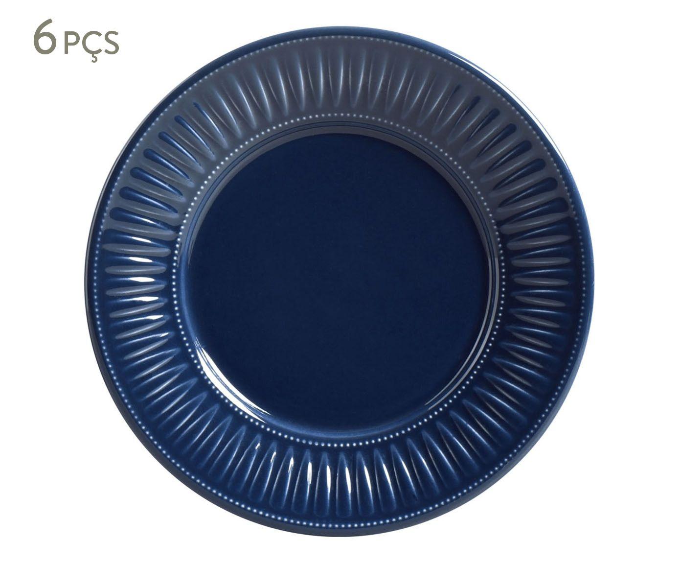 Jogo de Pratos para Sobremesa Daisy Deep Blue - 20,5cm | Westwing.com.br