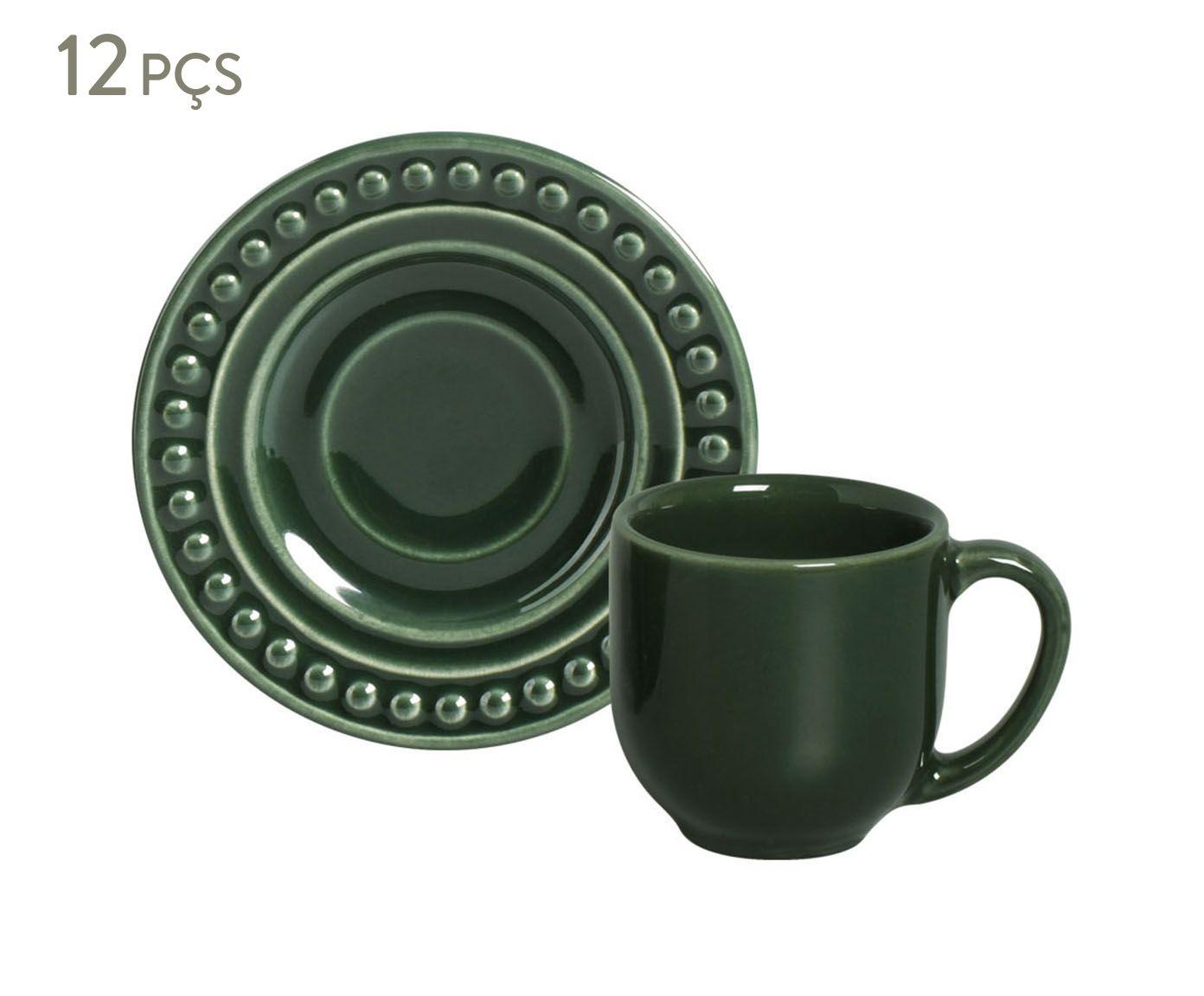 Jogo de Xícaras para Café com Pires Atenas Botânico - 72ml | Westwing.com.br