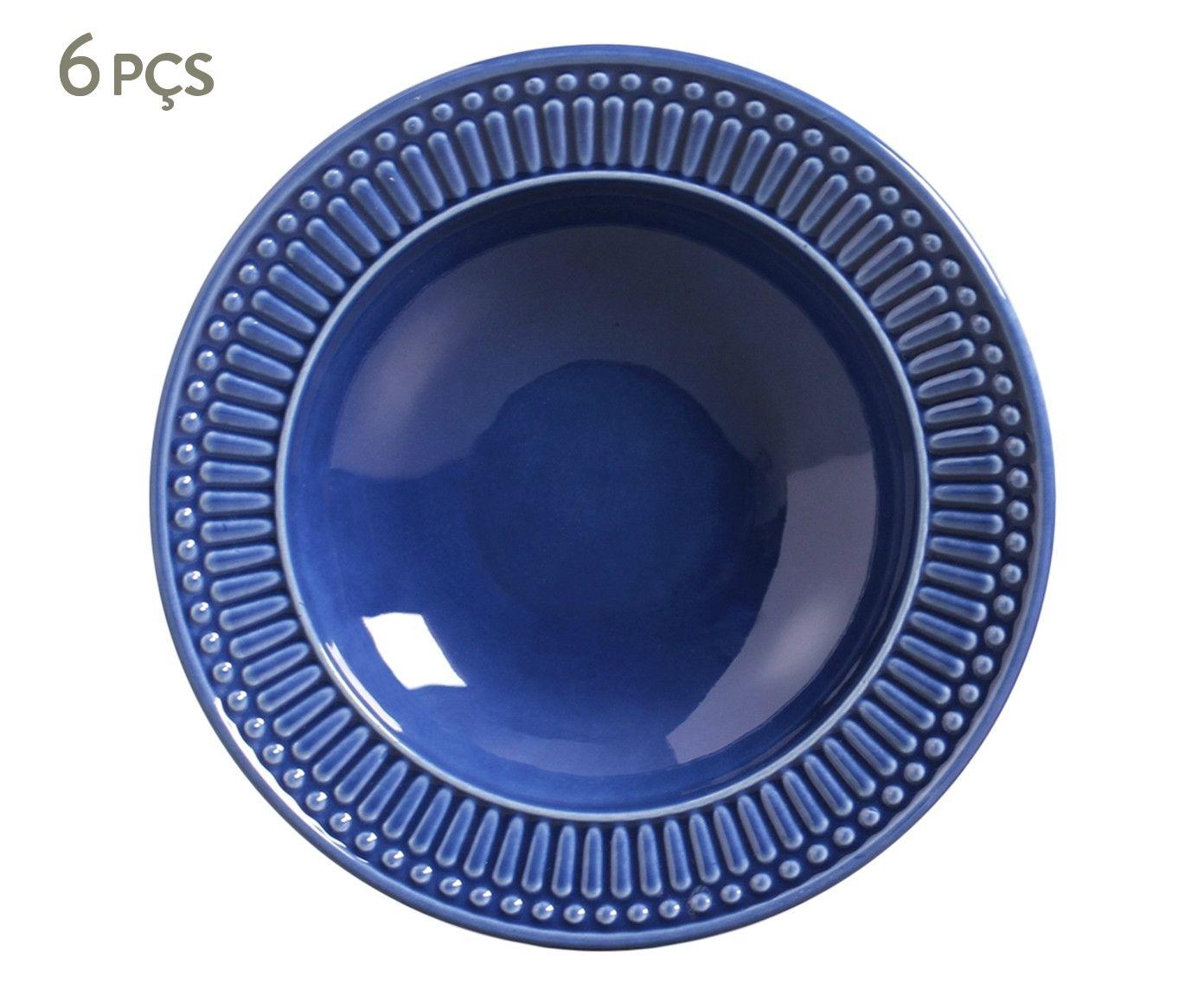 Jogo de Pratos Fundos Roma Azul Navy - 22cm | Westwing.com.br