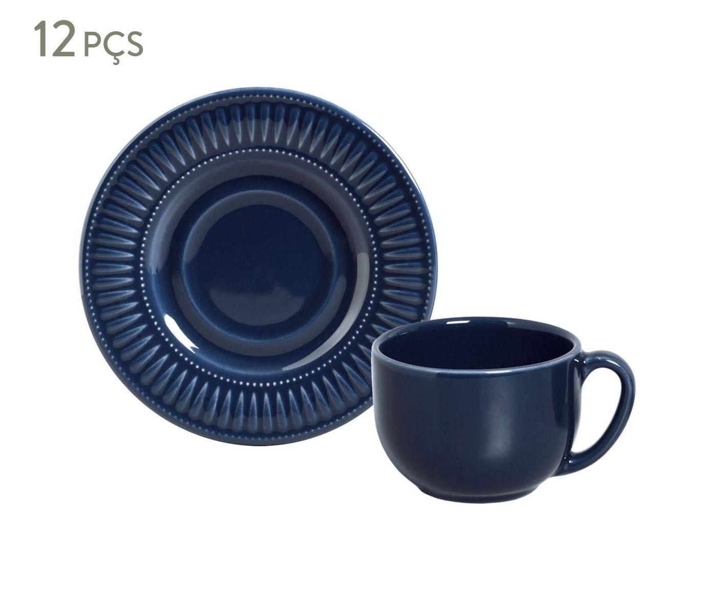 Jogo de Xícaras para Chá com Pires Daisy Deep Blue - 161ml | Westwing.com.br