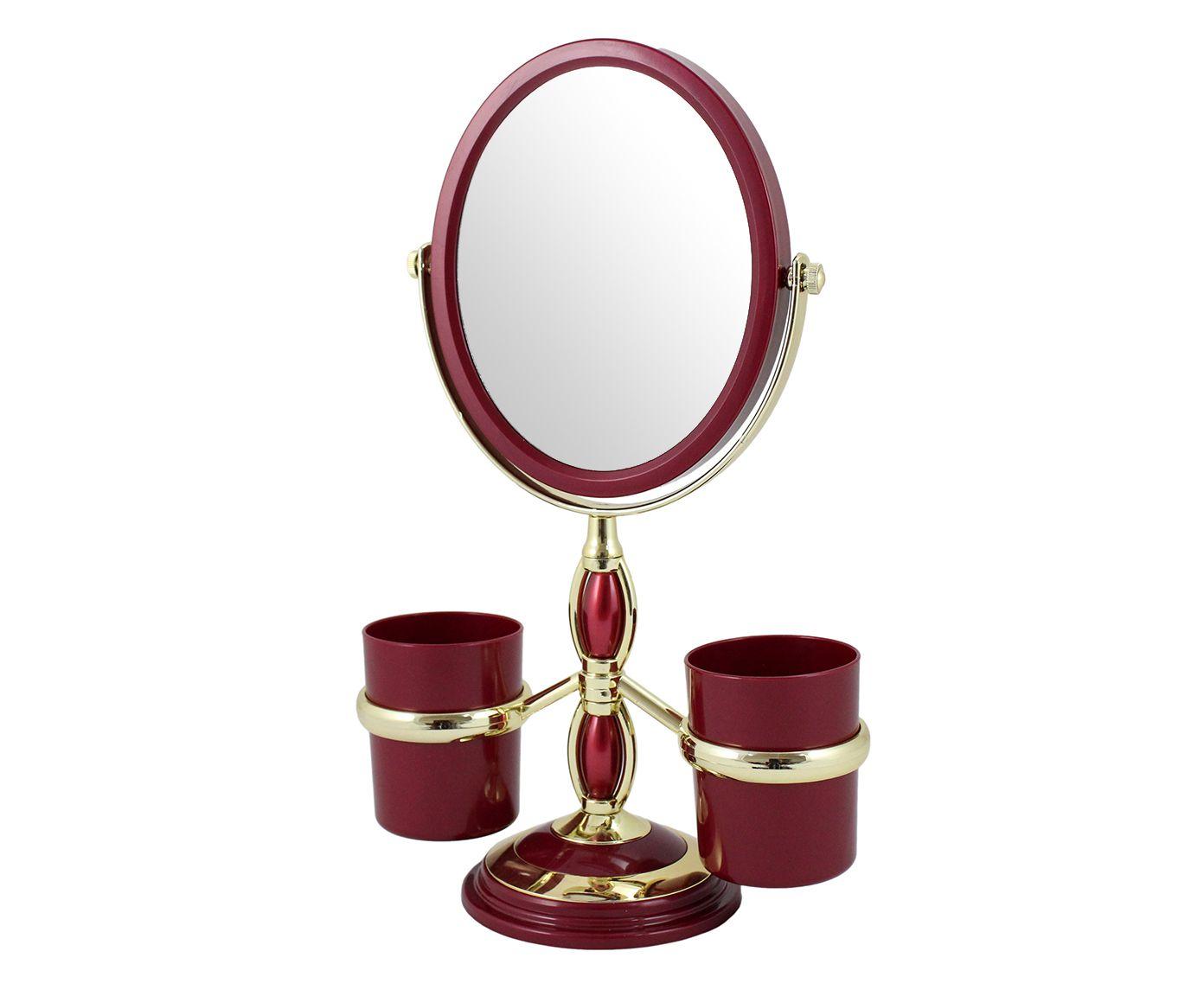 Espelho para Bancada com Suporte Jordda Vermelho - 20,5X32X11cm | Westwing.com.br
