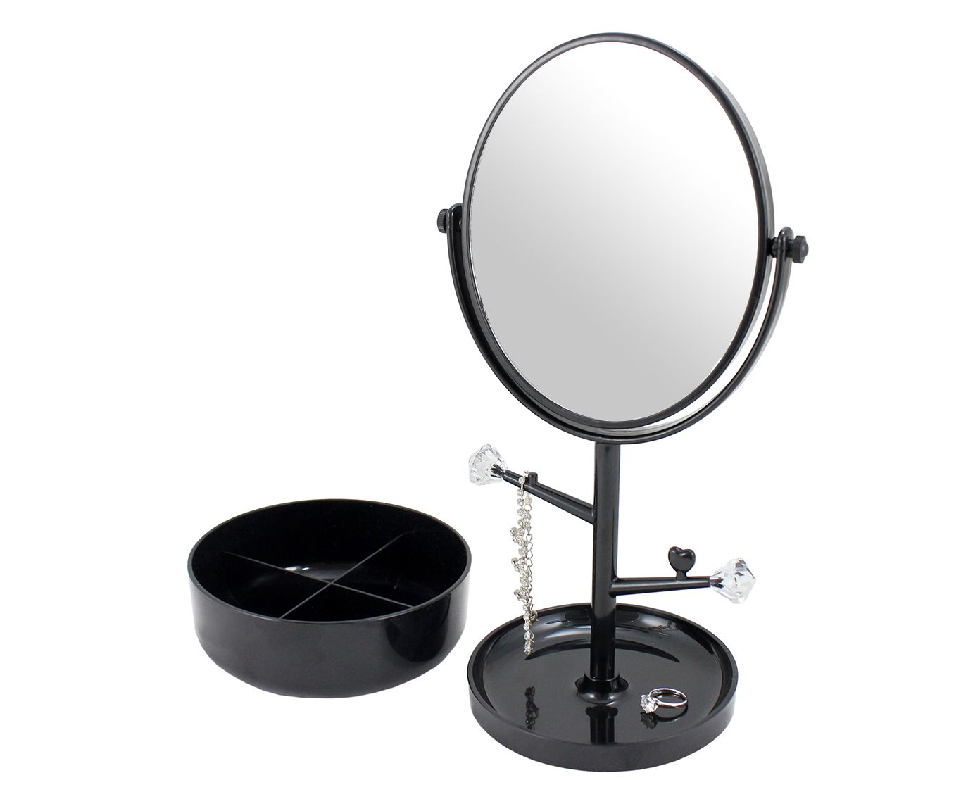 Espelho de Mesa com Suporte Gali Preto - 34,5X17cm   Westwing.com.br