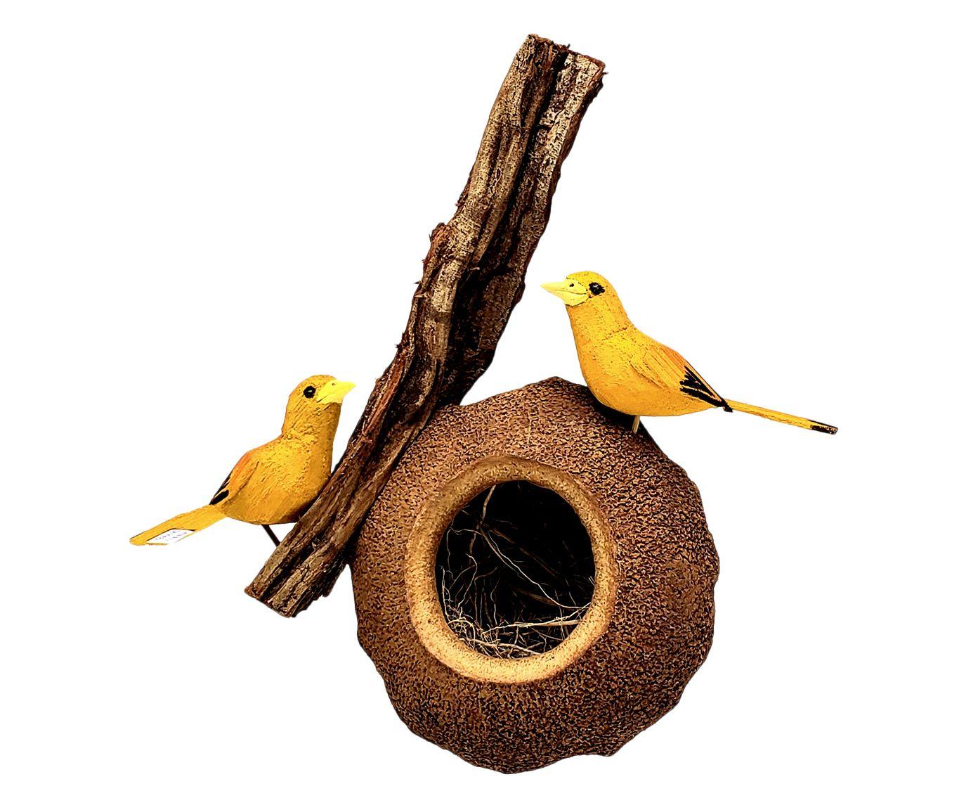 Escultura Pássaro Sapucaia Canarinho da Terra - 25X40X14cm   Westwing.com.br