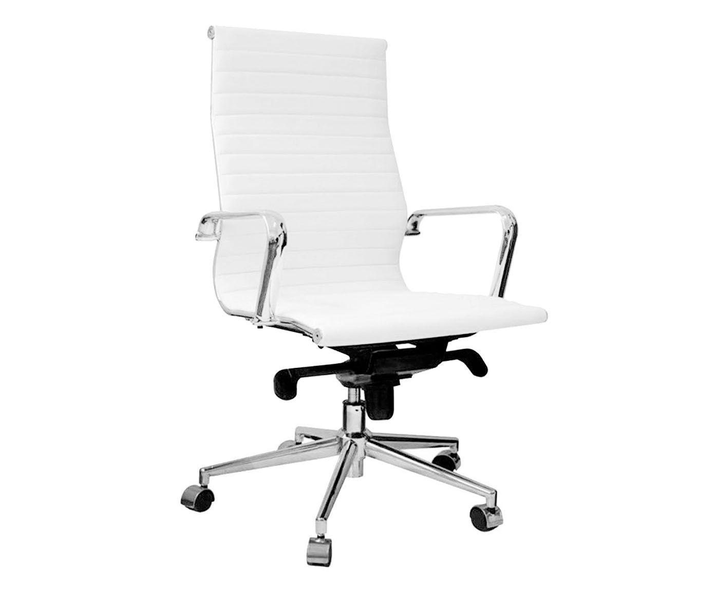 Cadeira em Couro Sintético Office Eames Esteirinha Branca - 54X116X45cm | Westwing.com.br
