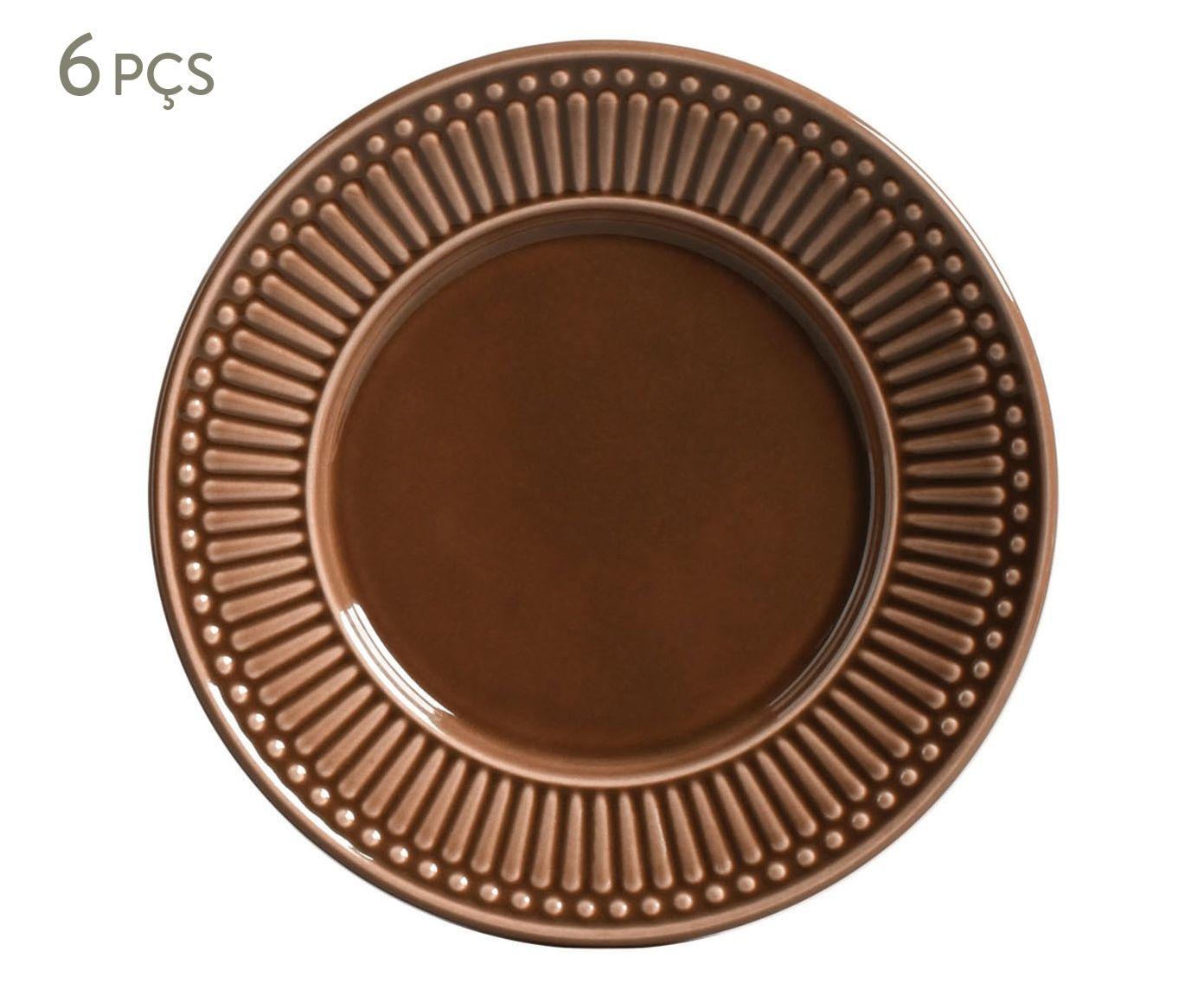 Jogo de Pratos para Sobremesa Roma Cacau - 20,5cm | Westwing.com.br