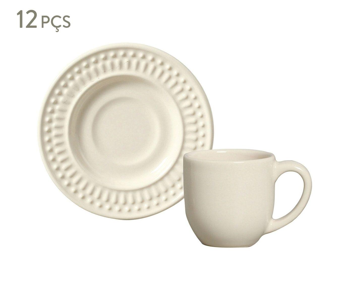 Jogo de Xícaras para Café com Pires Roma Cru - 75ml | Westwing.com.br