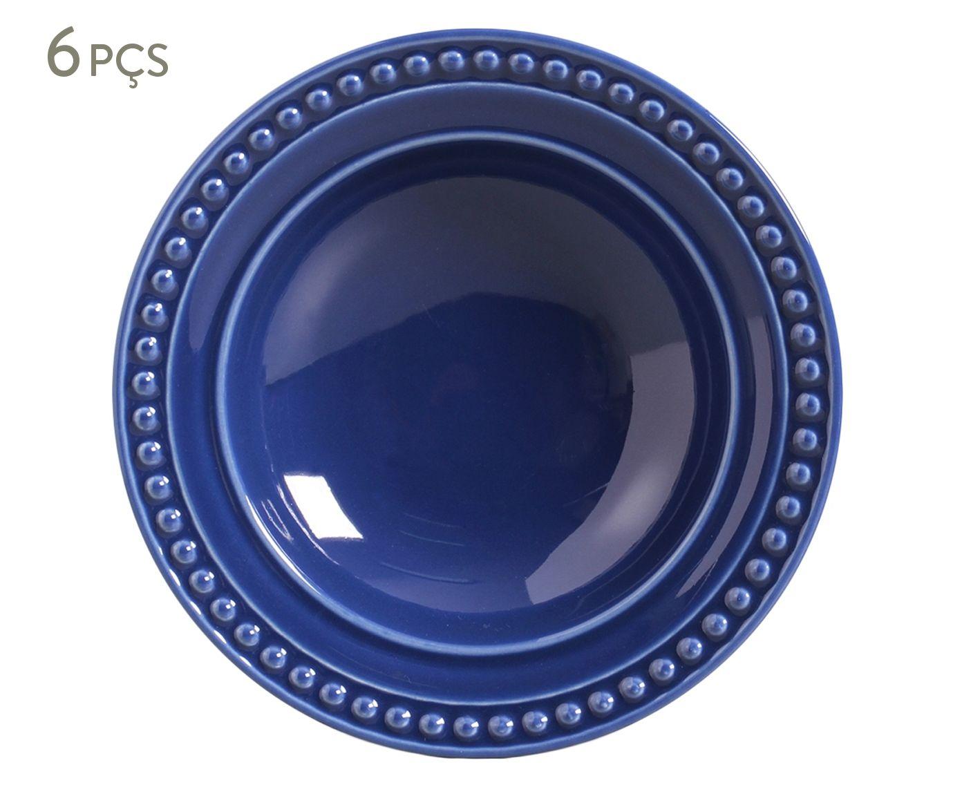 Jogo de Pratos Fundos Atenas Azul Navy - 22cm | Westwing.com.br