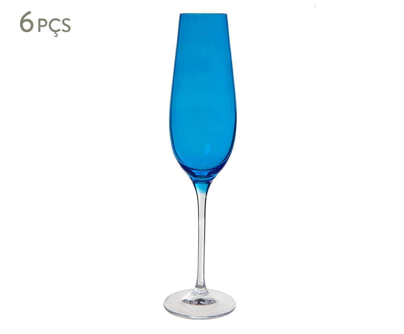 Jogo de Taças para Champanhe em Cristal Alecie Azul - 200ml | Westwing.com.br