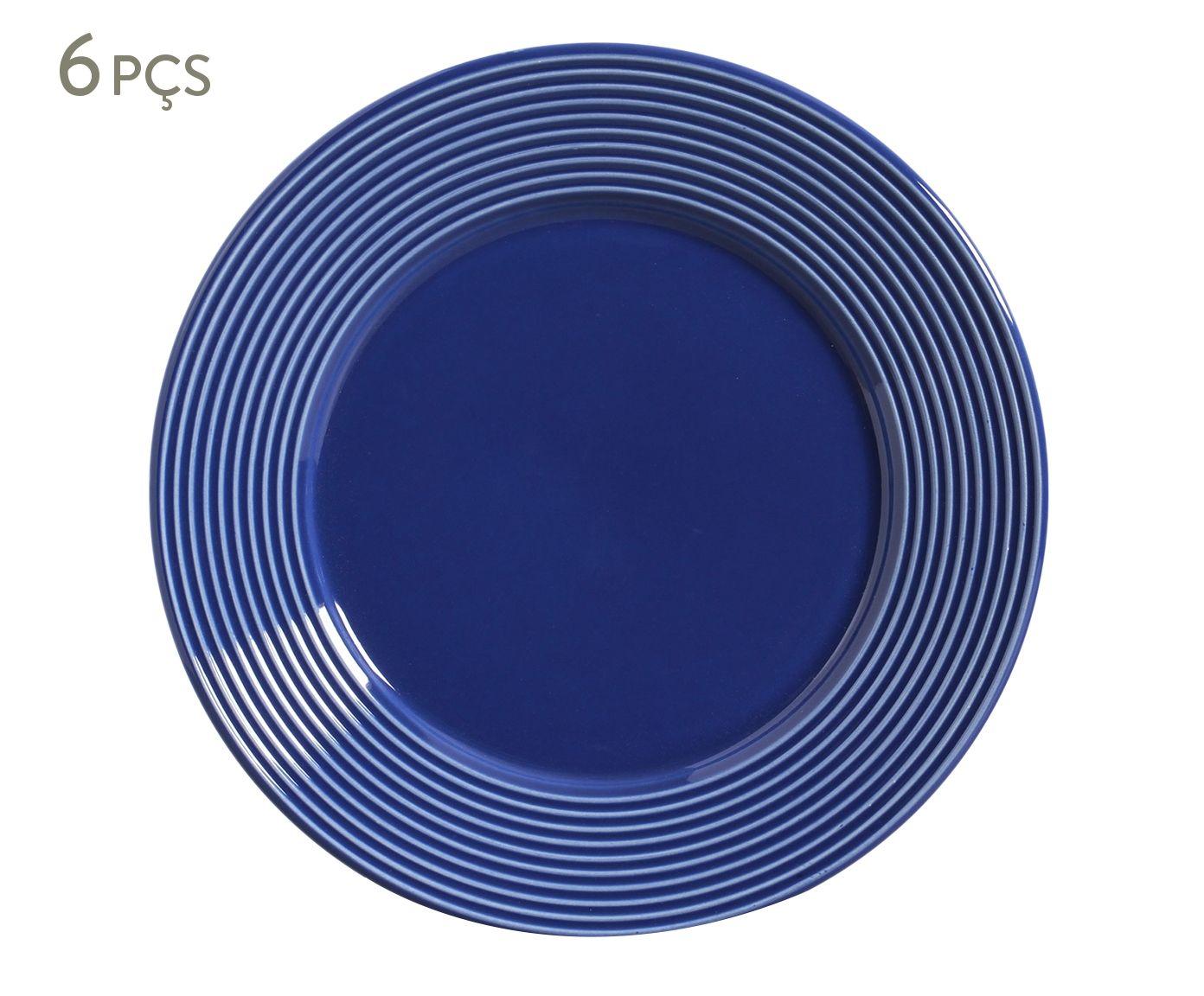 Jogo de Pratos Rasos Argos Azul Navy - 26cm | Westwing.com.br