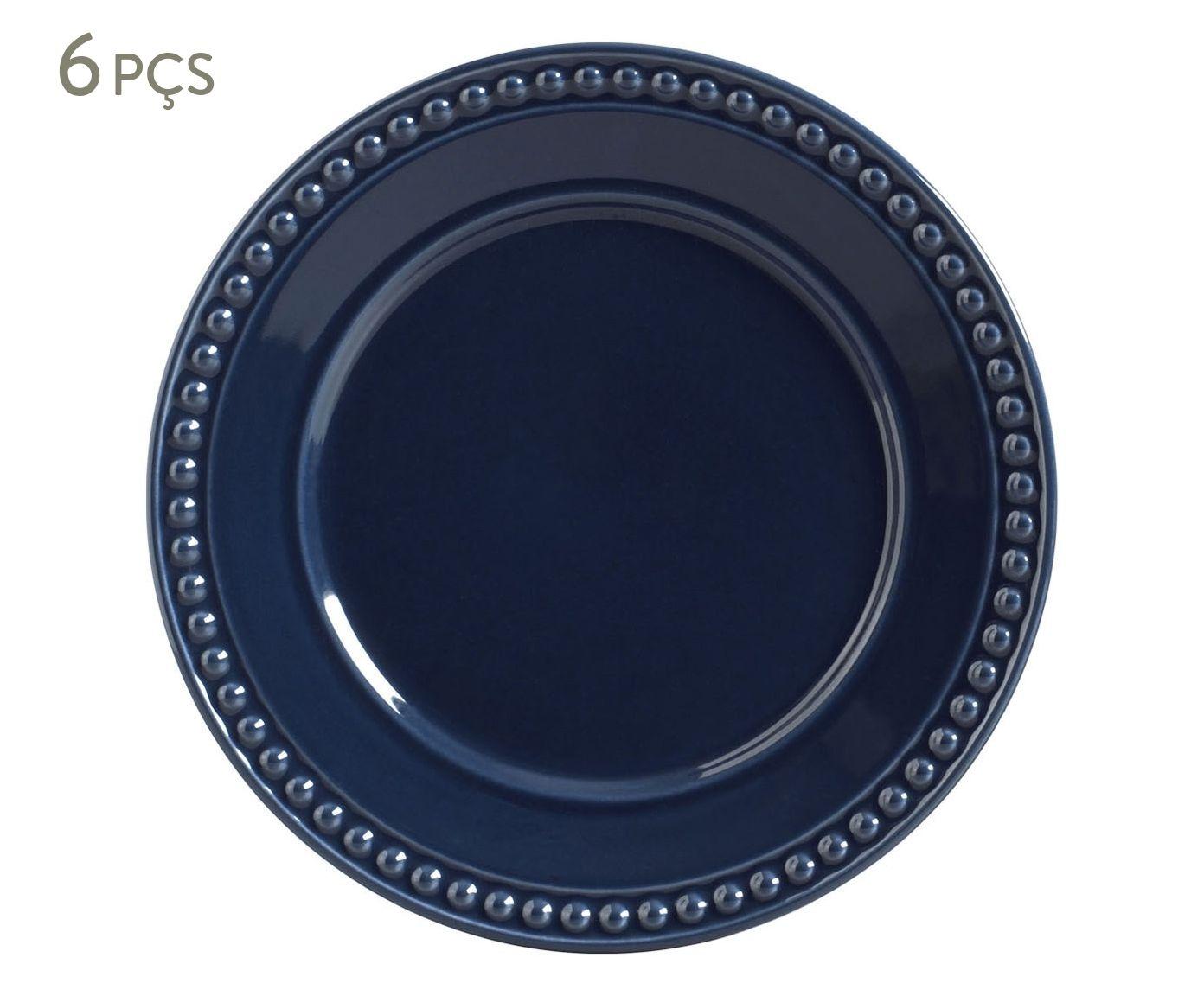 Jogo de Pratos Rasos Atenas Deep Blue - 26cm | Westwing.com.br