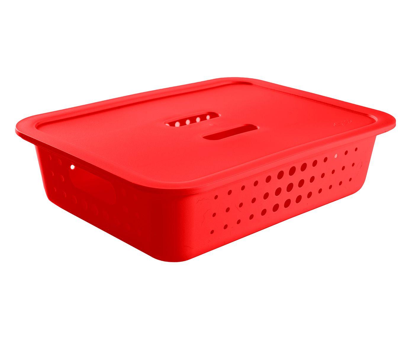 Cesto Organizador Baixo com Tampa Pratic Vermelha - 41X31,5cm | Westwing.com.br