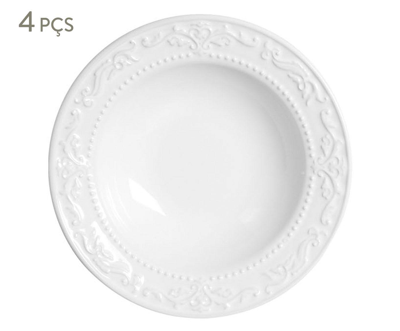Jogo de Pratos Fundos Acanthus Branco - 22cm   Westwing.com.br