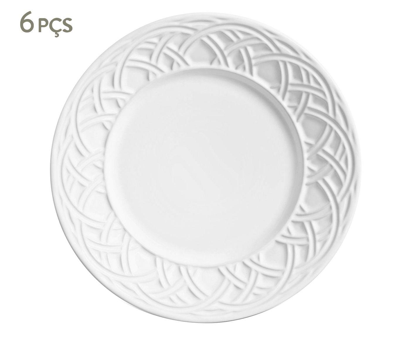 Jogo de Pratos para Sobremesa Cestino Branco - 20,5cm | Westwing.com.br