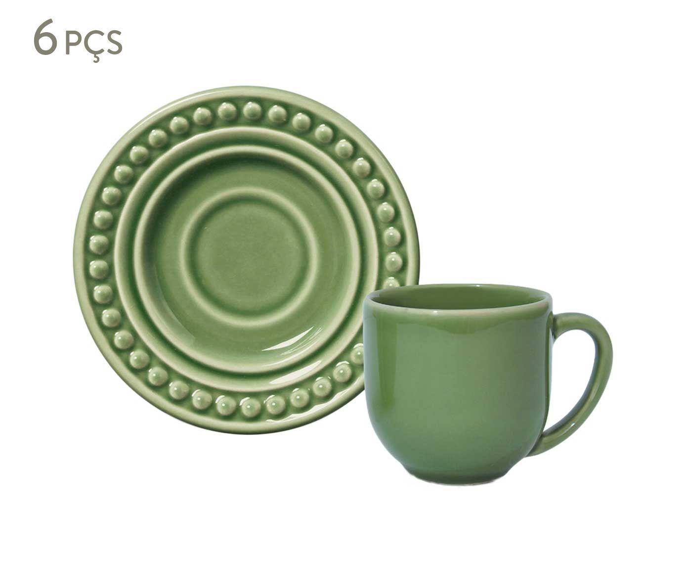 Jogo de Xícaras para Café com Pires Atenas Verde Sálvia - 72ml | Westwing.com.br