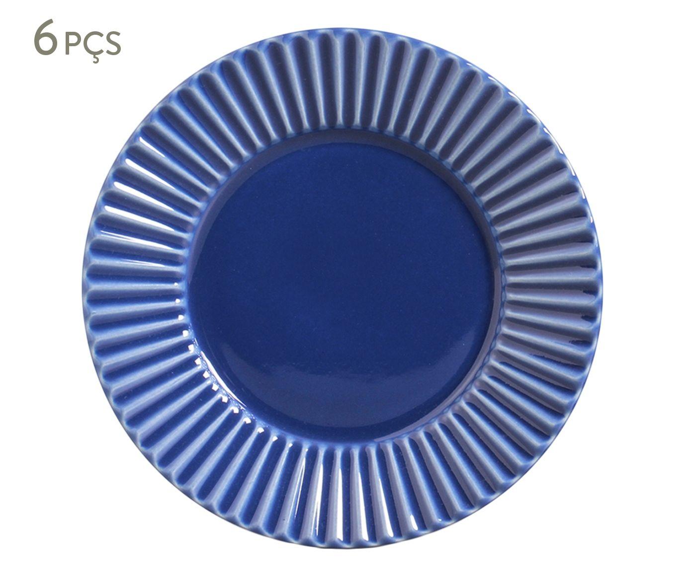 Jogo de Pratos para Sobremesa Plissé Azul Navy - 20,5cm | Westwing.com.br