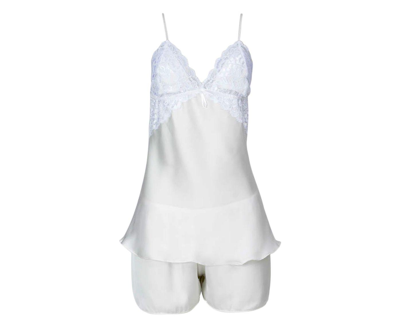 Short Doll em Cetim Neri Branco, Tamanho: M | Westwing.com.br