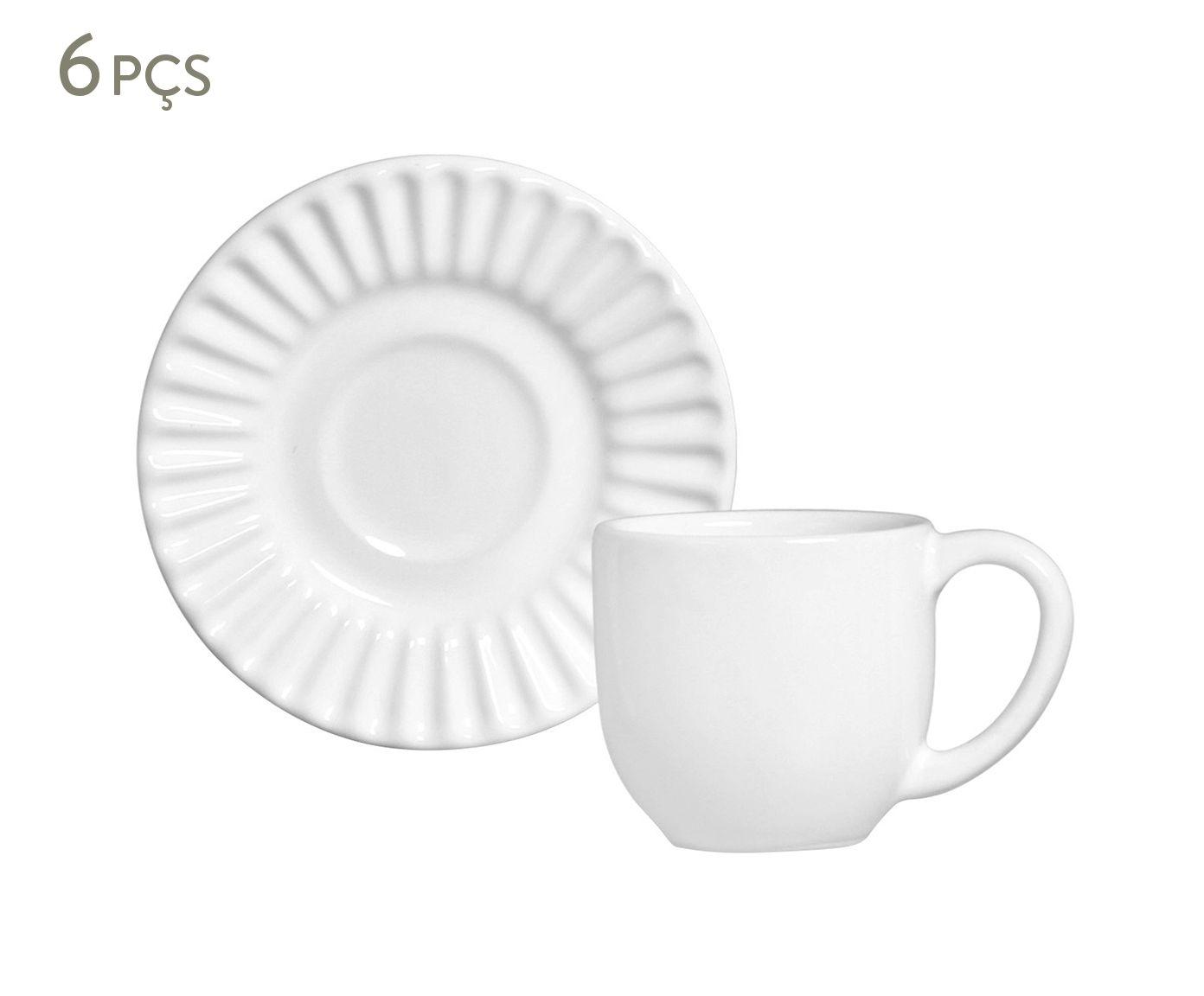 Jogo de Xícaras para Café com Pires Plissé Branco - 75ml | Westwing.com.br