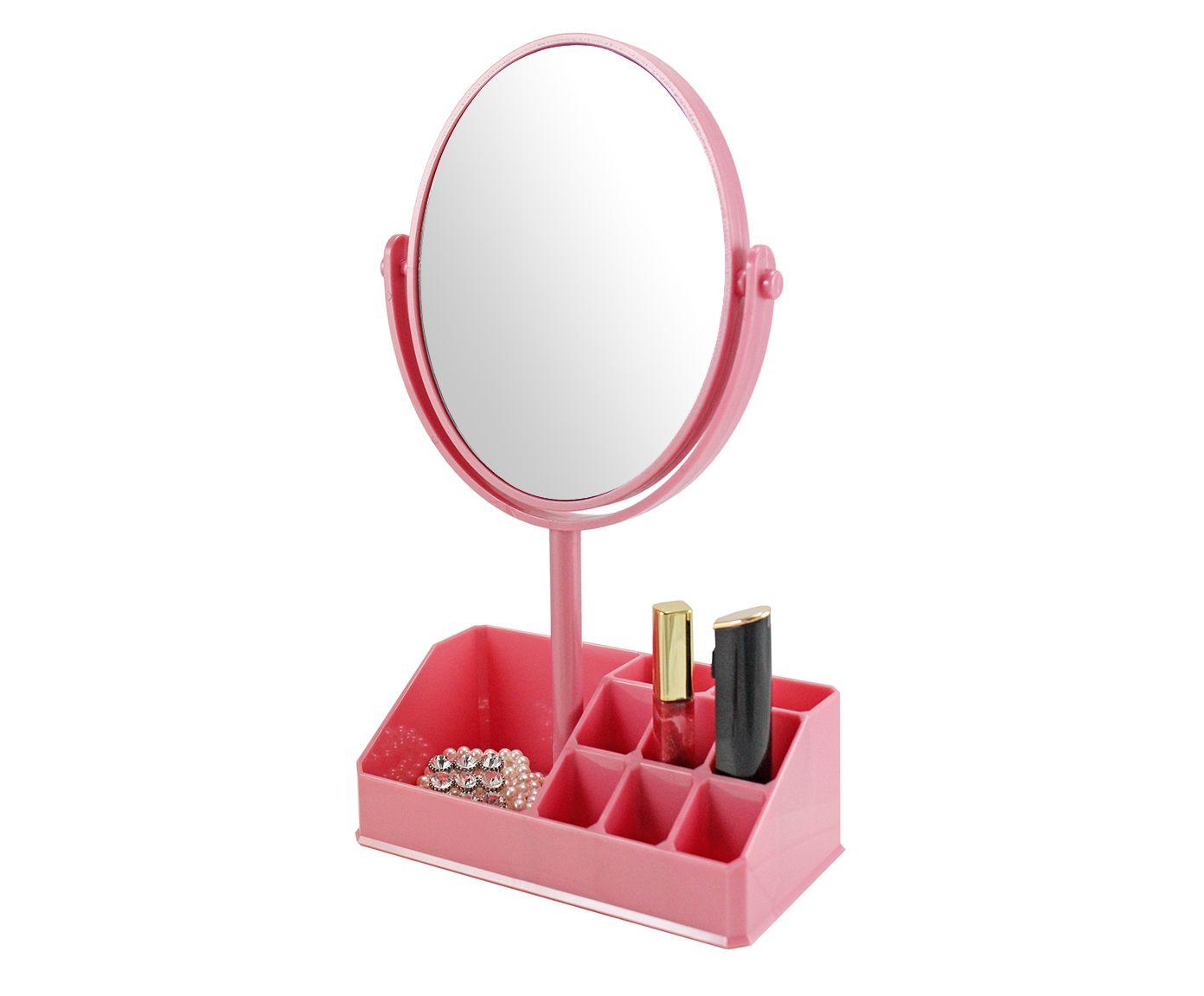 Espelho de Mesa com Divisórias Salim Rosa - 16,5X16,5cm | Westwing.com.br