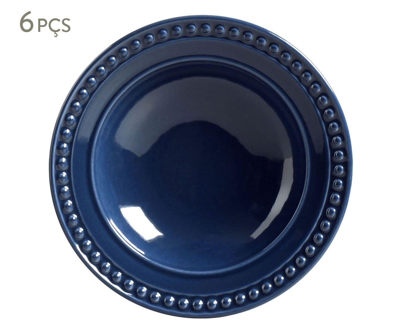 Jogo de Pratos Fundos Atenas Deep Blue - 22cm   Westwing.com.br