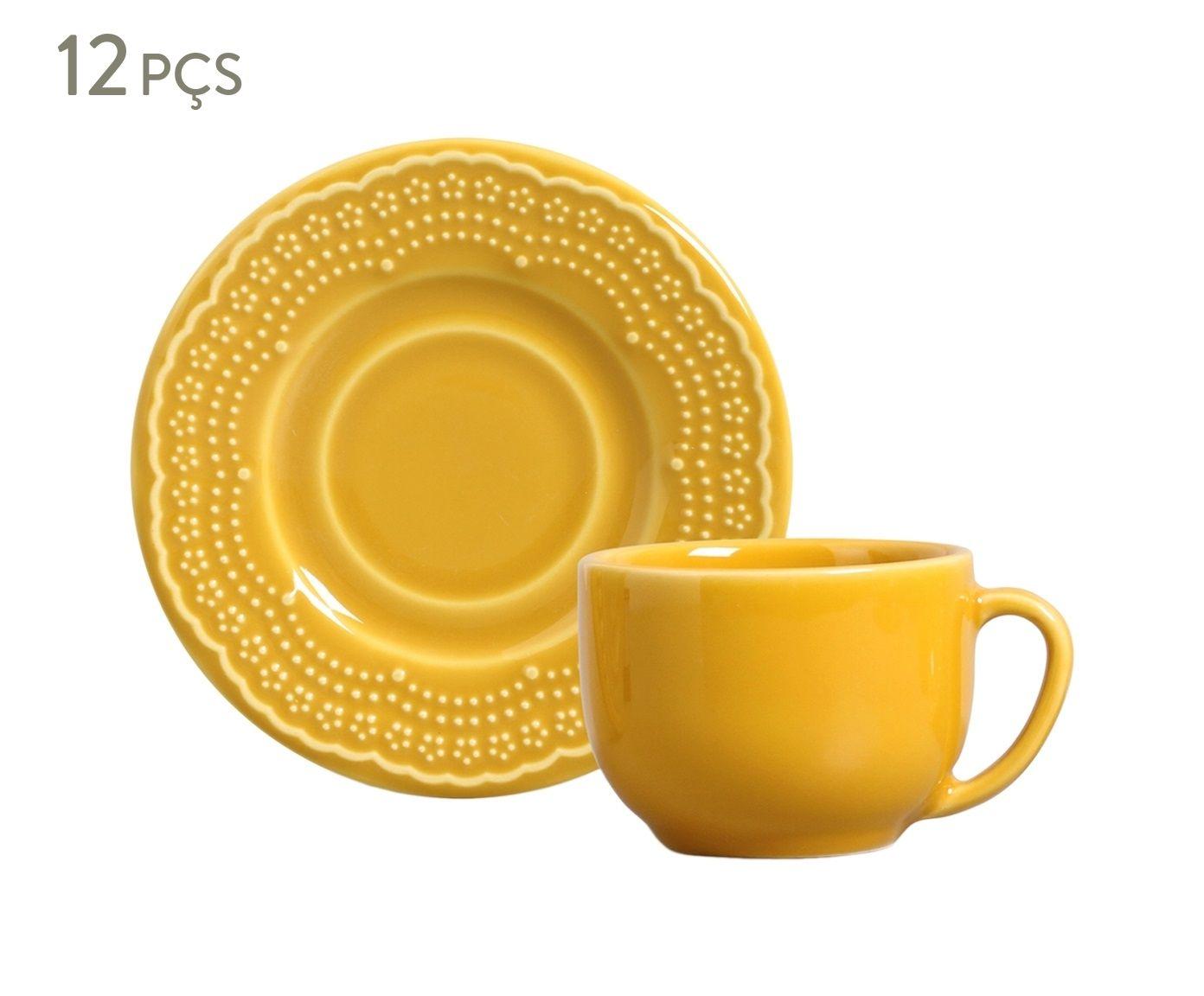 Jogo de Xícaras para Chá com Pires Madeleine Mostarda - 160ml   Westwing.com.br
