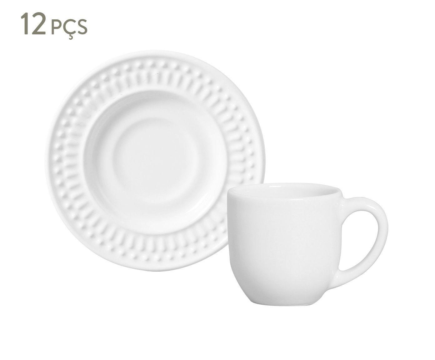 Jogo de Xícaras para Café com Pires Roma Branco - 75ml | Westwing.com.br