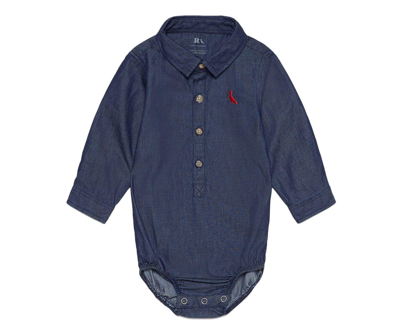 Camisa Macaquinho Bebê Manga Longa Jeans Azul Índigo, M | Westwing.com.br