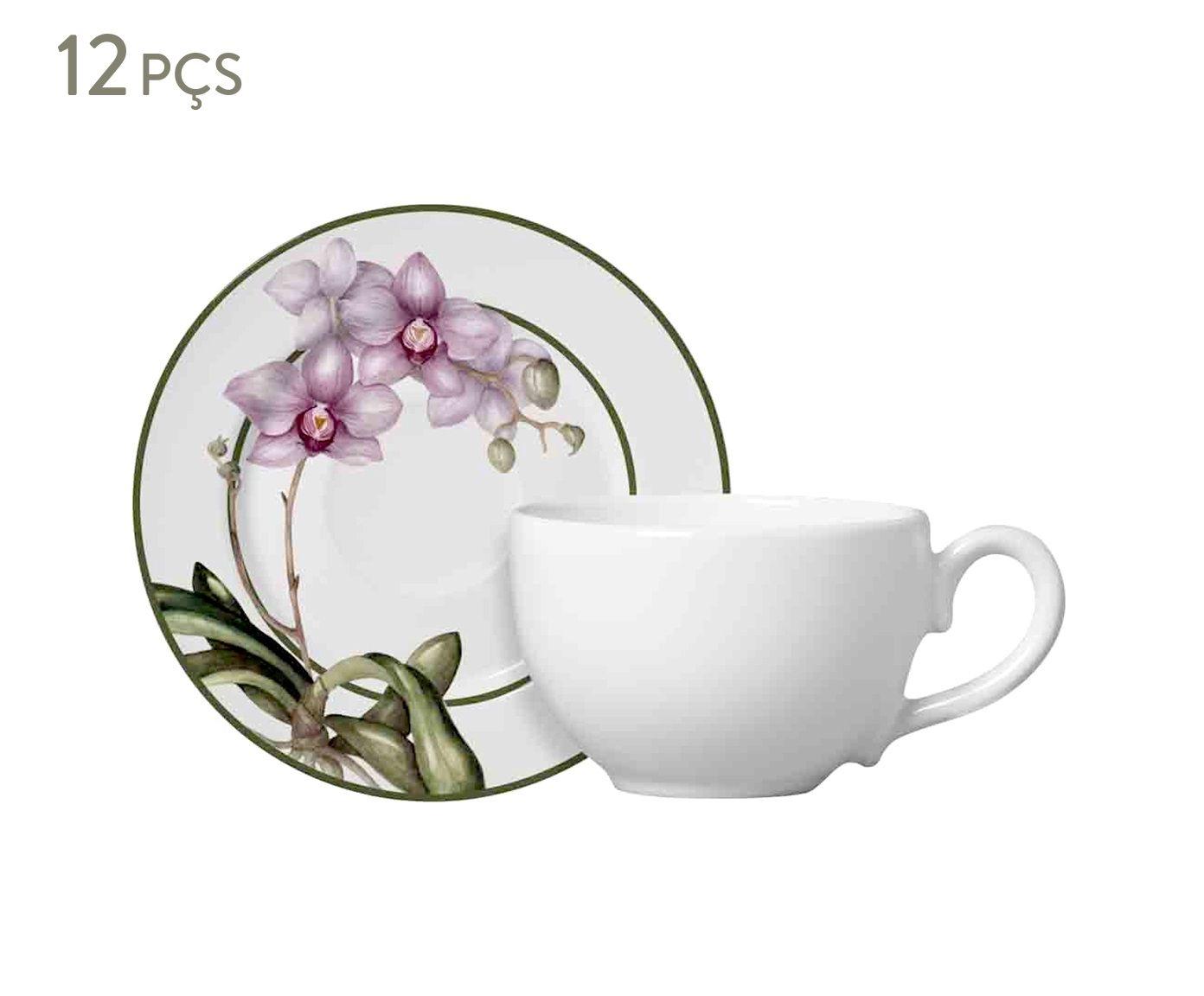 Jogo de Xícaras para Chá com Pires Flat Orquídea - 300ml   Westwing.com.br