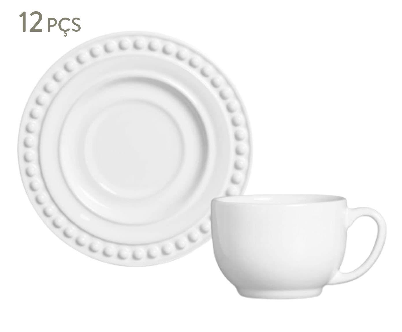Jogo de Xícaras para Chá com Pires Atenas Branco - 160ml   Westwing.com.br
