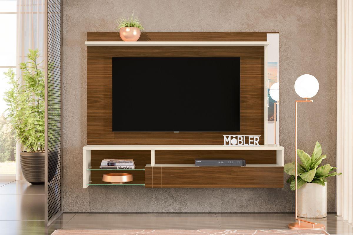 Home Suspenso com Espelhos, 1 Porta Basculante em Mdf e 5 Prateleiras Bari para Tv Ate 60 Polegadas Freijo/Off White Mobler - Mobler | Westwing.com.br