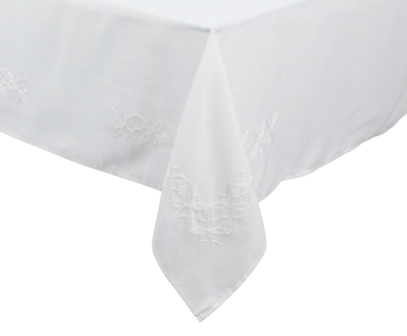 Toalha de Mesa em Linho Auguri Fiori Branca - 170X270cm | Westwing.com.br