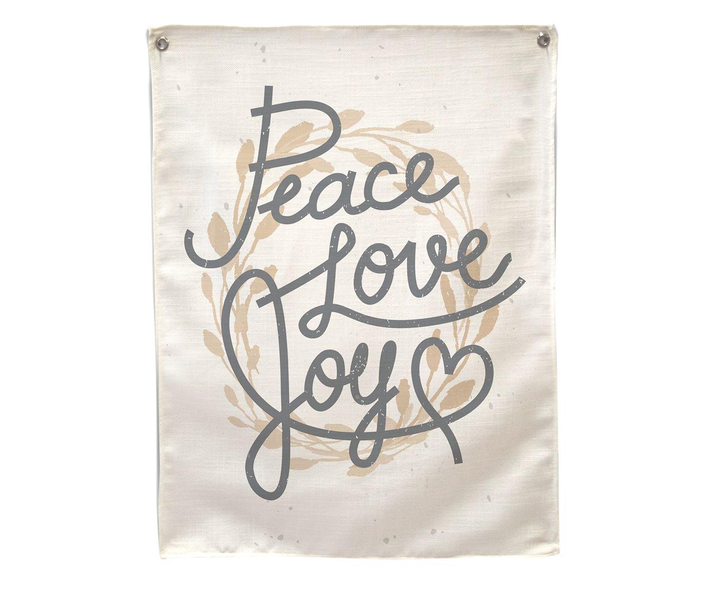 Banner Decorativo Peace, Love e Joy - 45X60cm   Westwing.com.br