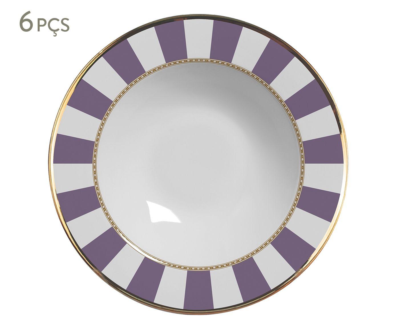 Jogo de Pratos Fundos Lavender Strip - 24,5cm | Westwing.com.br