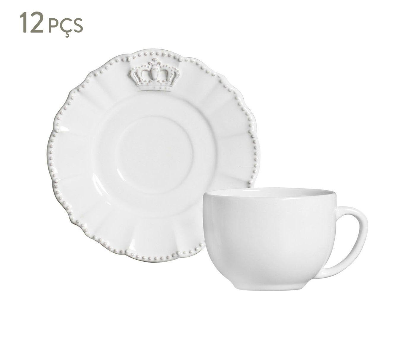 Jogo de Xícaras para Chá com Pires Windsor Branco - 197ml | Westwing.com.br