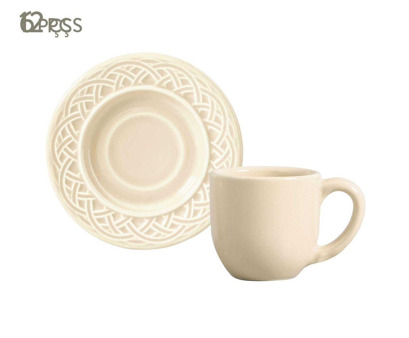 Jogo de Xícaras para Café com Pires Cestino Cru - 72ml   Westwing.com.br