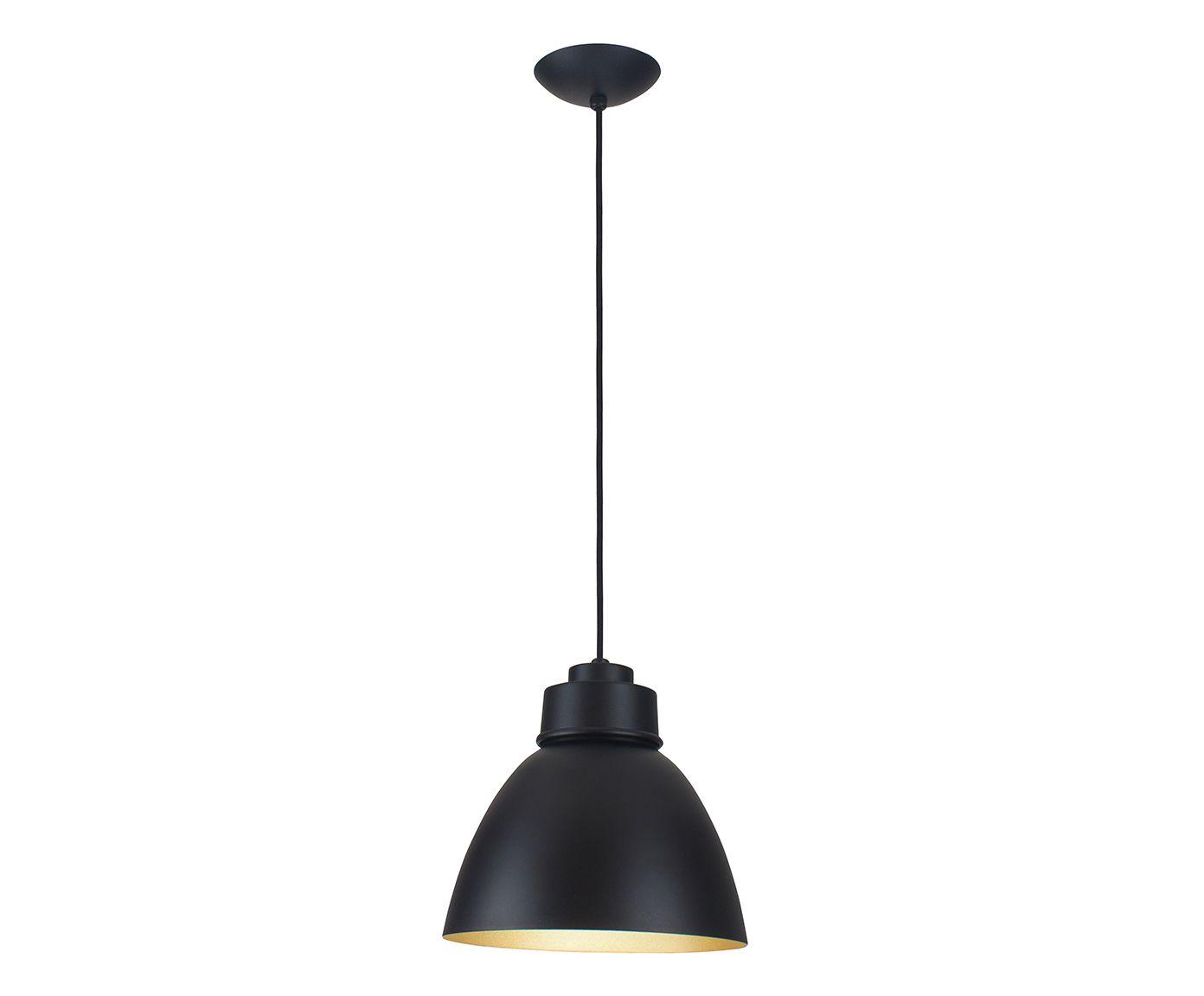 Pendente New Industrial Dourado e Preto Bivolt - 21X25cm   Westwing.com.br