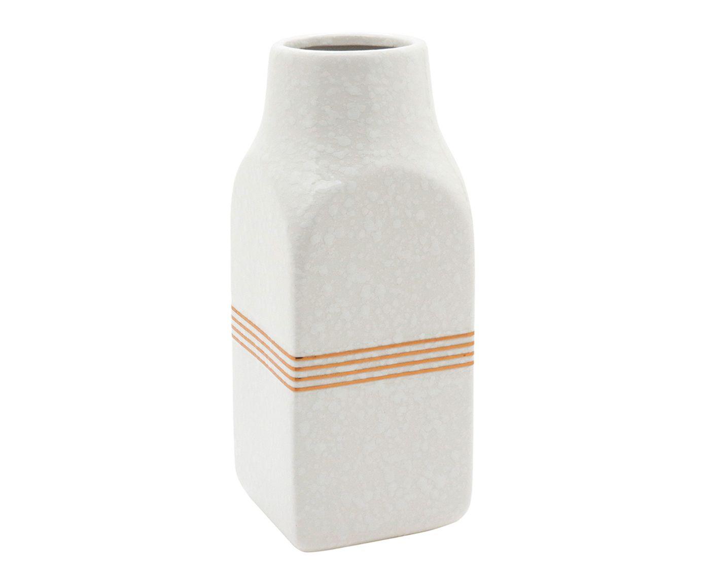 Vaso Bitta Branco e Dourado - 20X10X10cm | Westwing.com.br