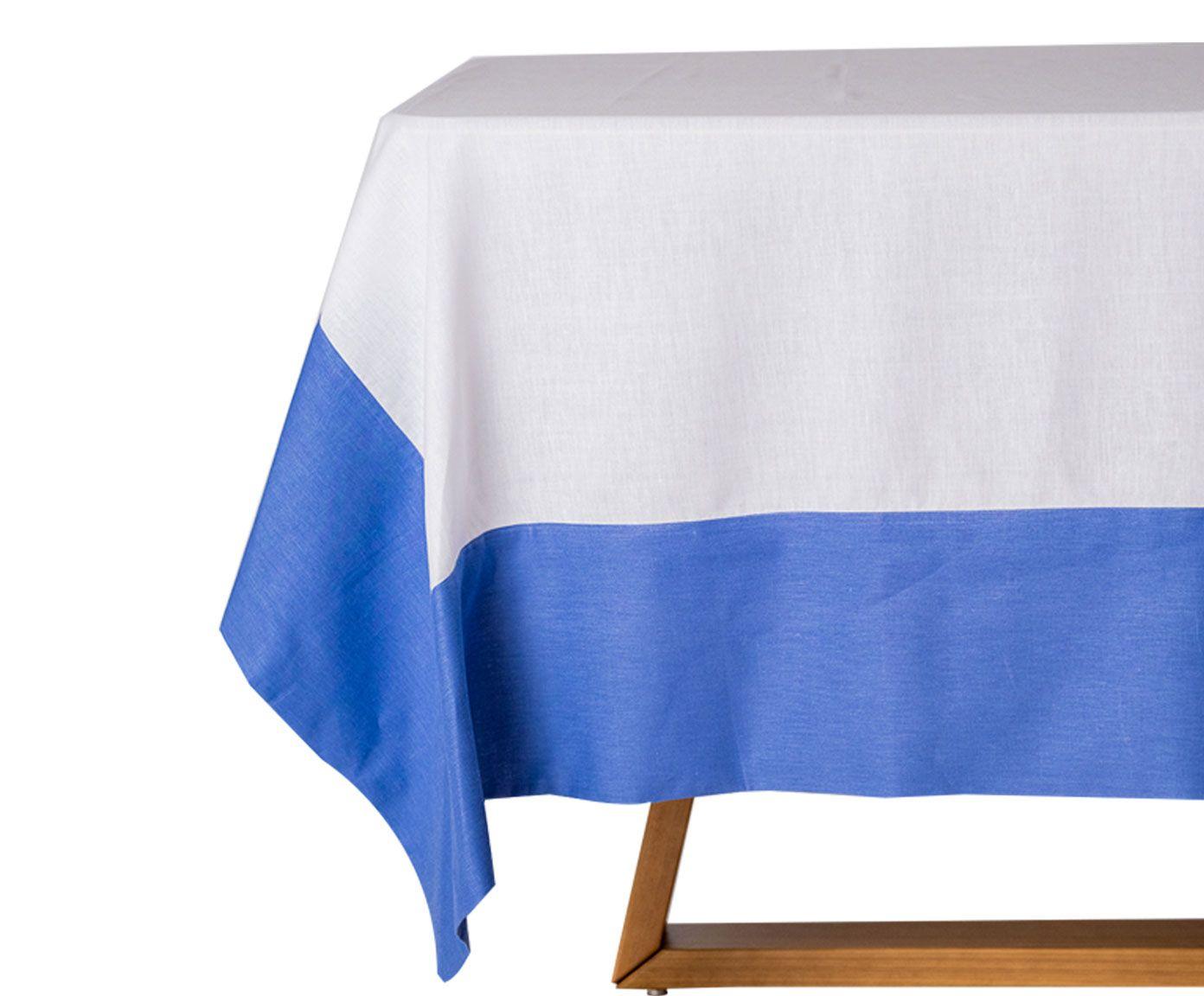 Toalha de Mesa em Linho Mallory Branca e Azul 220x220 cm | Westwing.com.br