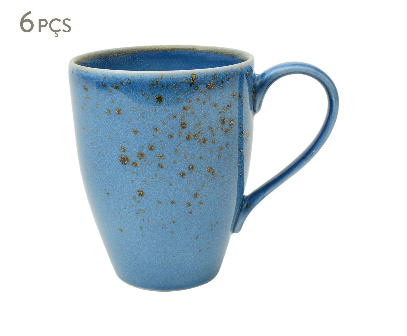 Jogo de Canecas em Porcelana Nature Azul - 300ml | Westwing.com.br
