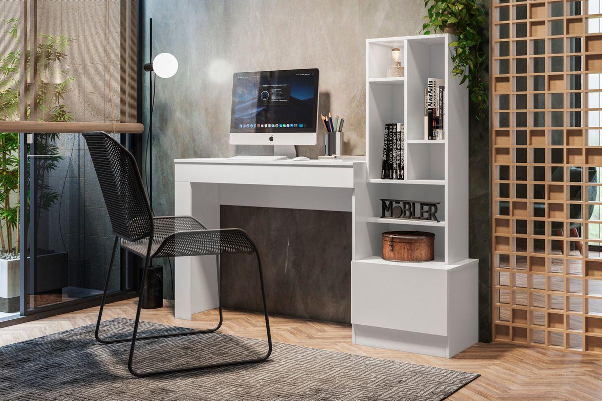 Escrivaninha Office com 1 Gaveta e 7 Prateleiras Lion Branco Fosco Liso Mobler - Mobler | Westwing.com.br
