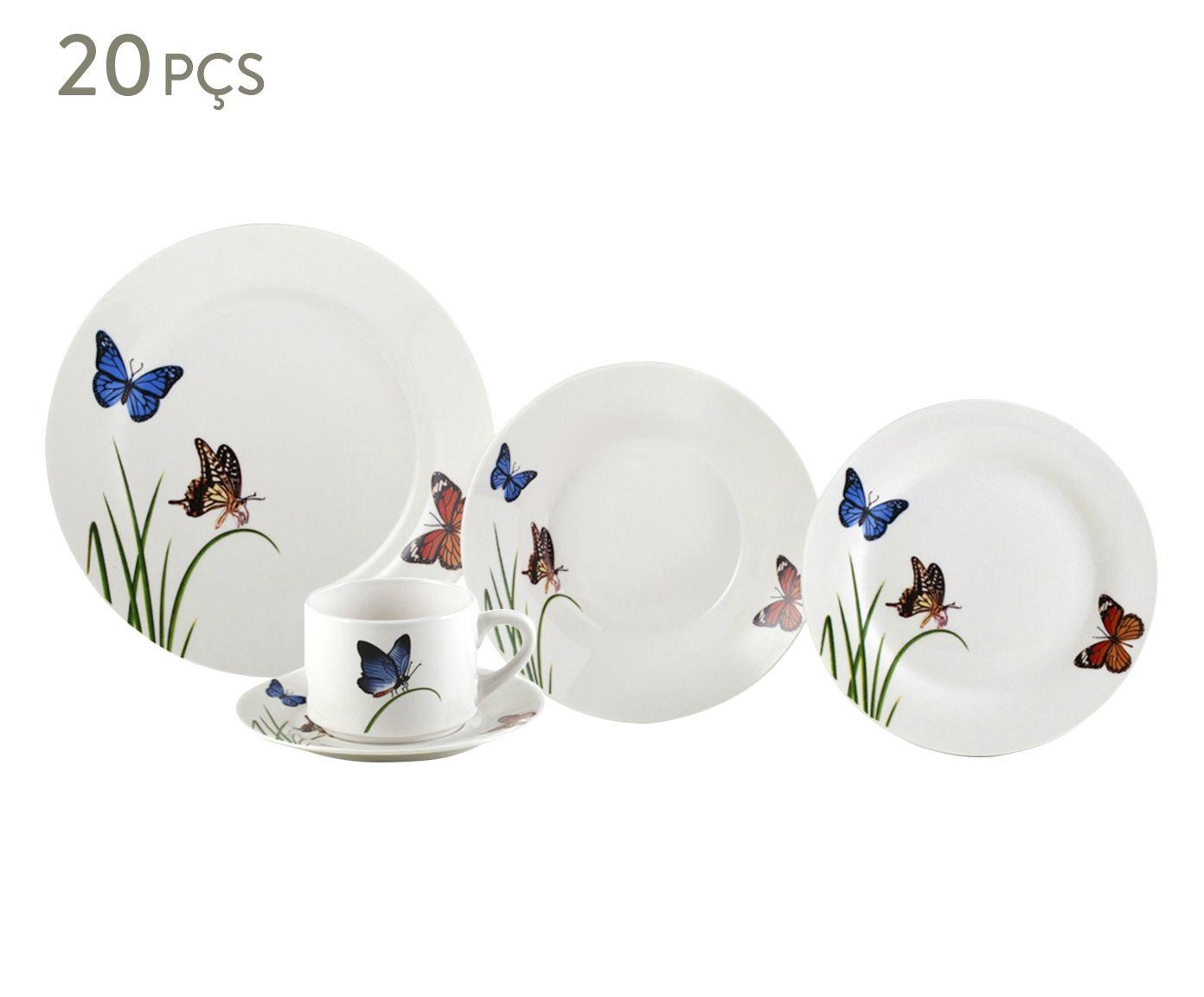 Jogo de Jantar em Porcelana Butterflies - 04 Pessoas   Westwing.com.br