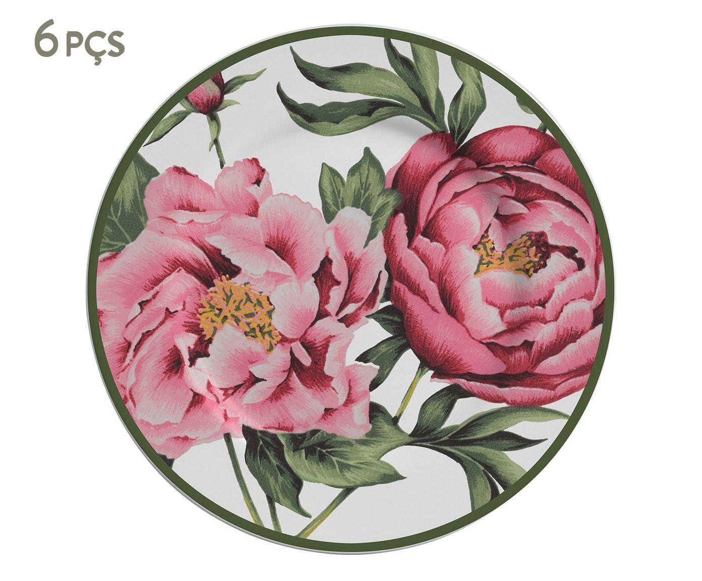 Jogo de Pratos para Sobremesa Peony Rose - 19,5cm   Westwing.com.br
