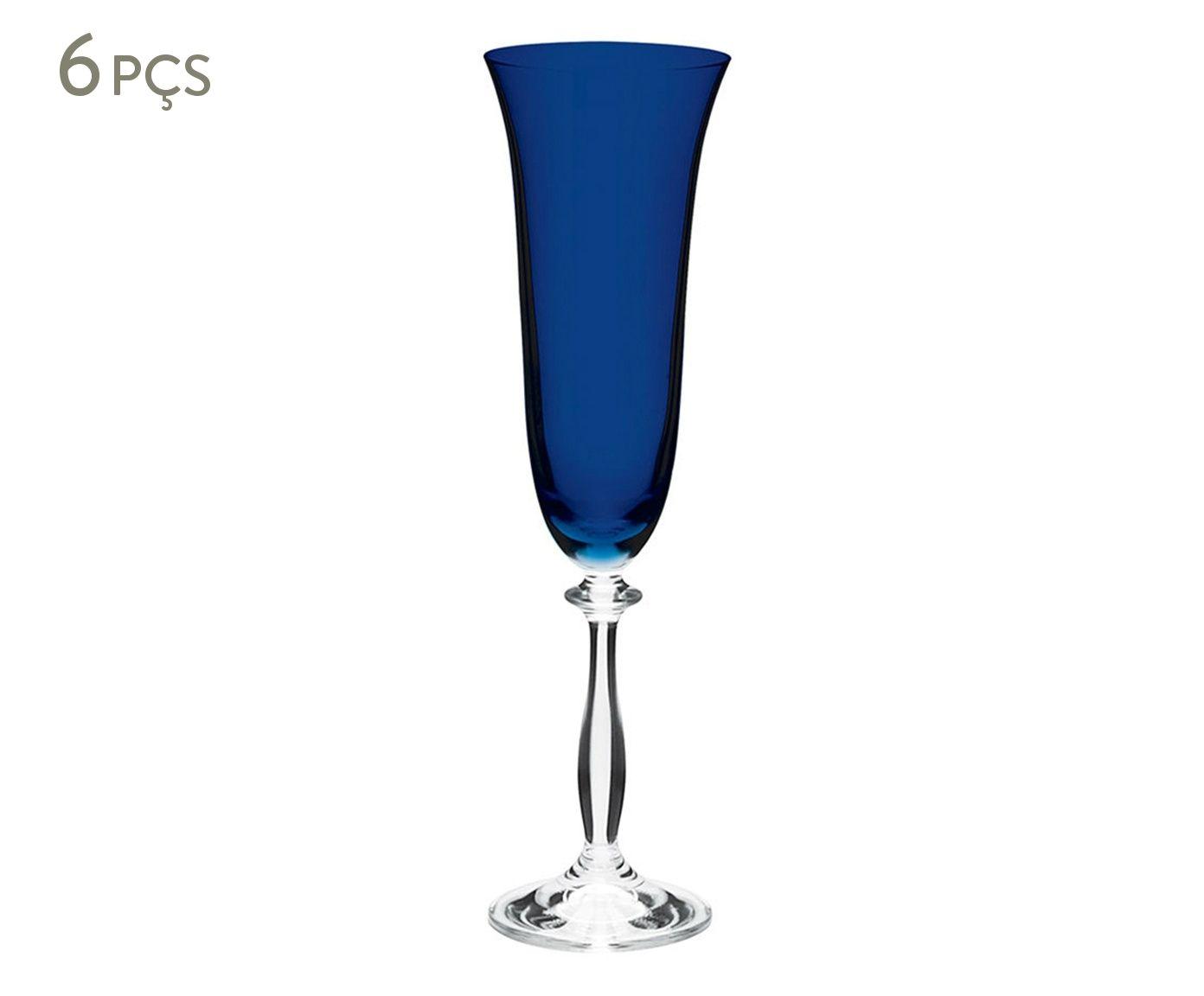 Jogo de Taças para Champagne em Cristal Angela Azul Escuro - 190ml   Westwing.com.br