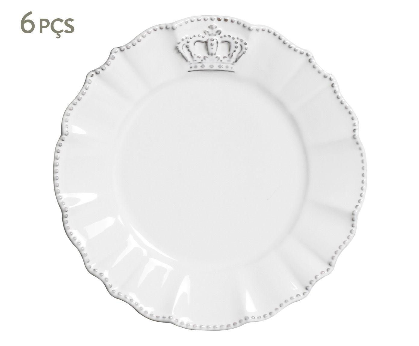 Jogo de Pratos para Sobremesa Windsor Branco - 20,5X2cm | Westwing.com.br