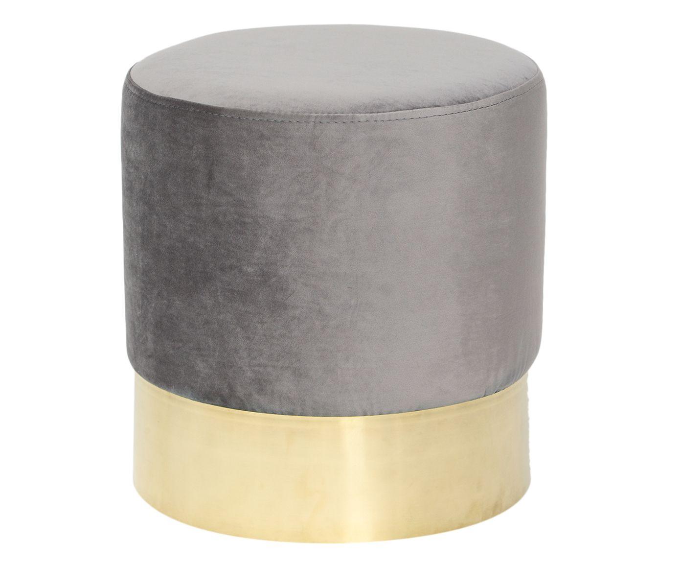 Pufe em Veludo Harlow Concreto - 40X38cm | Westwing.com.br
