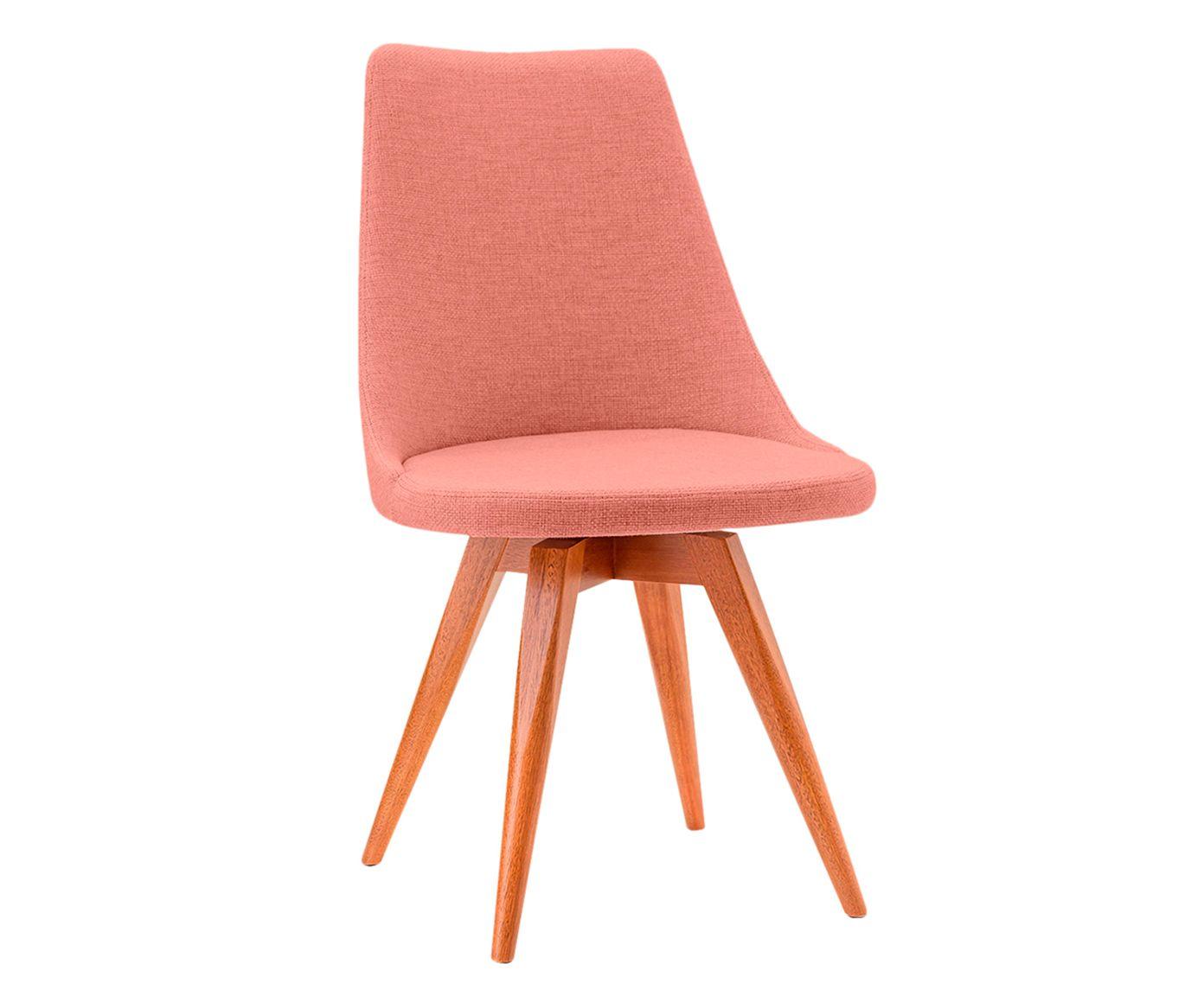 Cadeira Fixa em Linho Ella Salmão - 55X91X53cm   Westwing.com.br