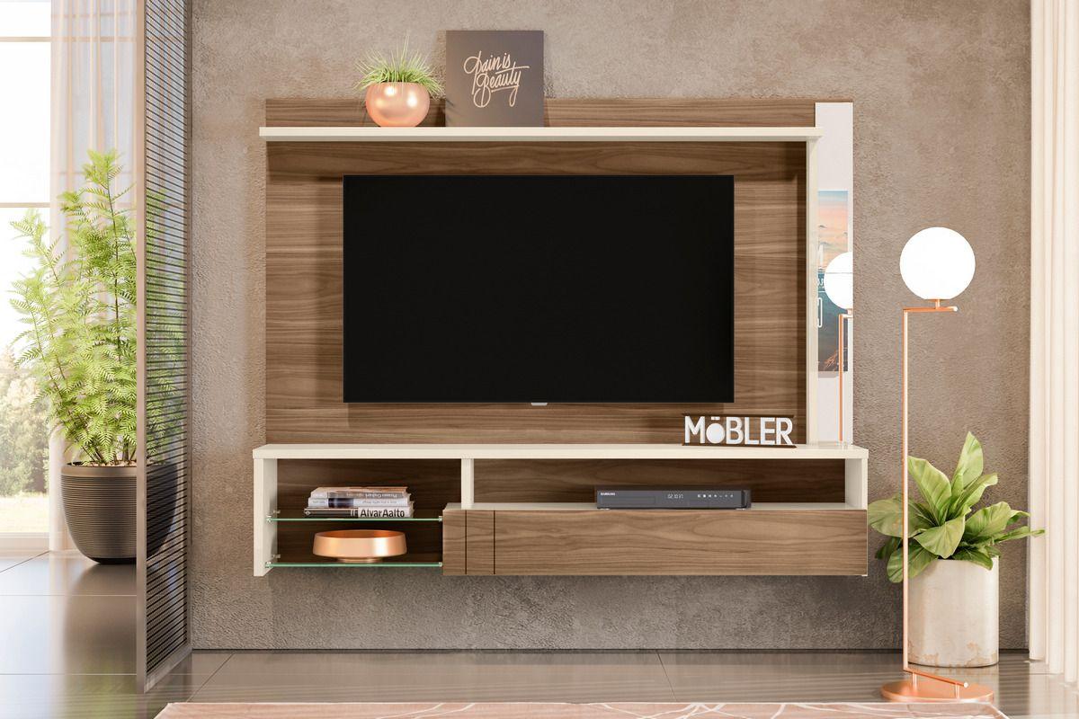Home Suspenso com Espelhos, 1 Porta Basculante em Mdf e 5 Prateleiras Bari para Tv Ate 60 Polegadas Carvalho Nobre/Off White Mobler - Mobler | Westwing.com.br